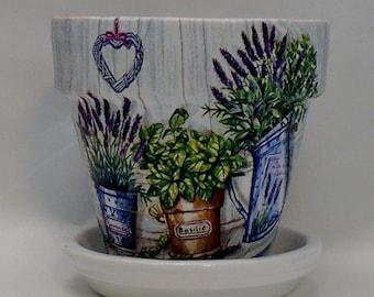 "Handmade Decoupage Clay Flower Pot, Lavender, 4.25"""