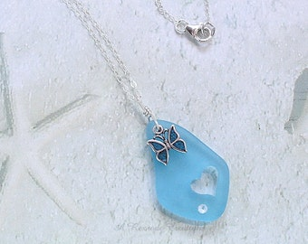Pastel Sea Glass Necklace Sea Glass Pendant Necklace / Beach Glass Jewelry / Butterfly Necklace / Gift for Her /