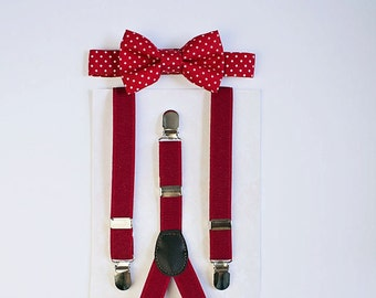 Red Boys Bow Tie Suspenders, Baby Boy Bow Tie, Toddler Bow Tie, Boy Christmas Bow Tie, Ring Bearer Outfit, Boys Suspenders, Stocking Stuffer