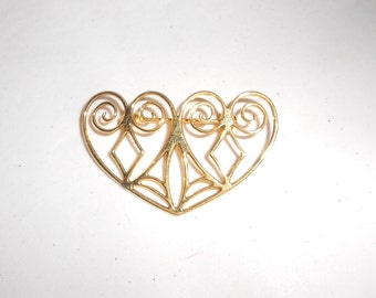 Vintage brooch abstract heart pin, two eternity hearts in gold tone metal