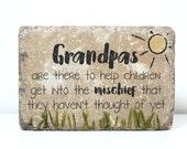 Grandpa Garden Stone. 6x9 Rustic Outdoor Decor. Fathers Day. Grandpa Gift. Personalized Garden Stone. Godfather Gift, Concrete Keepsake.