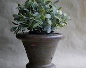 Vintage Brown Garden Planter, Studio Pottery, Heavy Clay, Herb Pot, Plant Container, Rustic Garden Decor