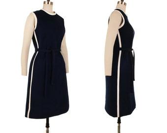 Sidestripe Dress / 1960's Vintage Mod Mini Dress / Navy Blue White Go Go Scooter Spaceage 60s Stewardess GoGo Madmen Space Age Dress Large L