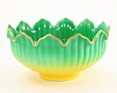 Green China Bowl, Noritake Green Bowl, Spring China Bowl, Easter Bowl, Easter Decor, Spring Decor, Vintage Green Bowl, Green and Yellow Bowl
