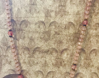Rose and Cherry Quartz Necklace