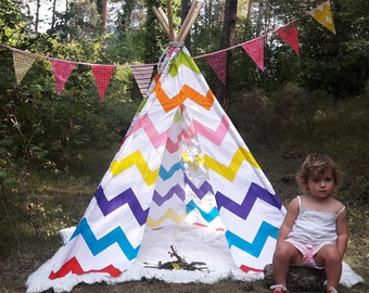 Big Teepee Tent Chevron Stripes . Tipi Tent. 5 POLES INCLUDED