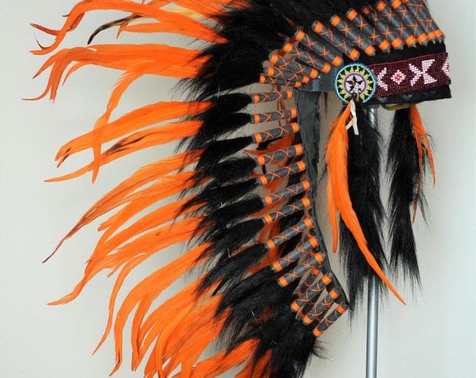 PRICE REDUCED Y19 Native Medium Orange Feather Headdress/ war bonnet.