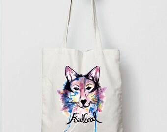 Wolf Tote Bag // Wolf Canvas Bag // Organic Cotton Eco Bag //  Watercolour Tote // Native American Bag
