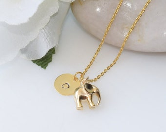 Gold Elephant Necklace, Personalized Gold Necklace, Gold Jewelry