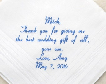 Father of the Groom Gift Father in Law Gift Personalized Wedding Hankerchief Embroidered Handkerchief gift for Father in Law hanky