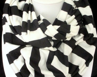 Black & White Striped Jersey Knit Infinity Scarf