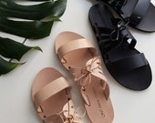Kamares leather slides in vachetta leather with lace up detail, Greek Sandals - classic handmade in nude or black