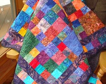 Beautiful jewel tone batik throw