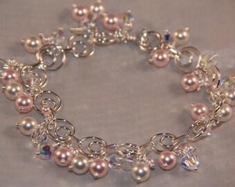 Sterling Silver and Swarovski Crystal Cluster Bracelet