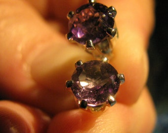 Amethyst Earrings 6MM Sterling Silver Studs