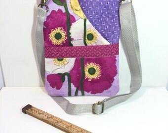 Hipster~POPPIES-CROSSBODY BAG-Small CrossBody Bag-Sling Bag-Travel Bag-Handbag- Bags and Purses-Shoulder Bag-Kindle-Fabric Bag-Handmade Bag