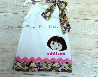 Dora Dress/ Dora The Explorer dress/ Dora outfit/ Dora clothing/ Dora top/ Personalized Dora dress SHIPS IN 1 DAY
