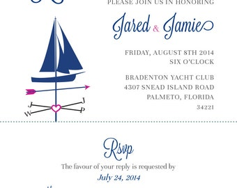 Printable - Nautical Rehearsal Dinner Invitation Suite | 2 Color Choice