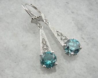 Floral Filigree and Blue Zircon Drop Earrings 7J0161-N