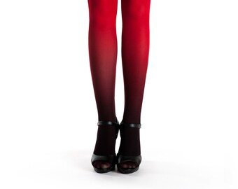 Ombre tights black-red