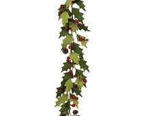 "Christmas Garland Decoration - Holly Berries 55"" Velvet Home Decor Holiday Garland Mantel"