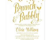 White and Gold Brunch & Bubbly Bridal Shower Invitations - DIY Printable Bridal Shower Invitations - Digital Glitter - White and Gold