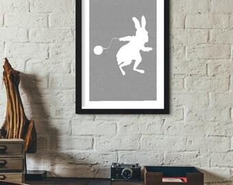 Alice in Wonderland Book Poster (Rabbit Design)