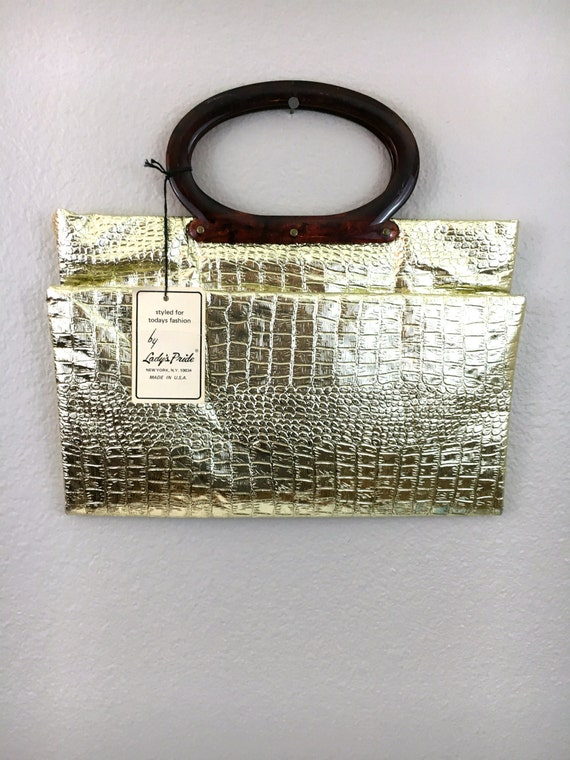 New Vintage Gold Foldover Handbag, Brown Lucite Handles, Convertible Textured Tote, New Vintage Purse by Lady's Pride, New York, NY Handbag