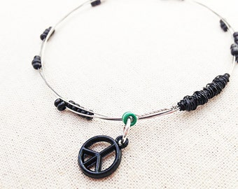 Guitar String Bracelet with Black Pearls Peace Sign
