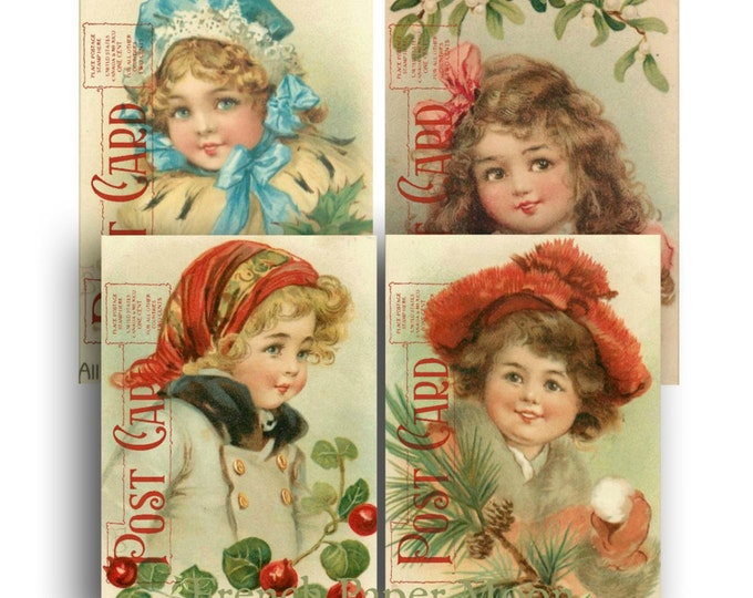 Digital Vintage Christmas Girls, Victorian Christmas Children, Vintage Christmas Postcards, Set of 4