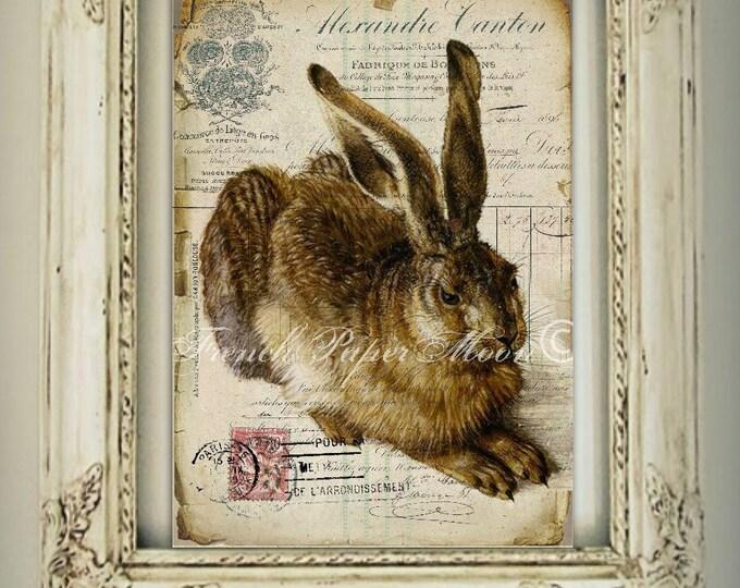 Digital French Bunny, Shabby Vintage Rabbit, French Receipt, Decoupage, French Digital Pillow Transfer, Easter Bunny Digital Graphic