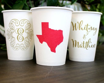 Personalized Paper Coffee Cups, Customizable Paper Cups, State Pride Cups, Wedding Cups, Engagement Party, Coffee Bar, Hot Chocolate Bar