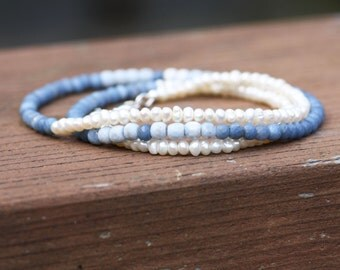 Natural Peru Blue Opal and Pearl Necklace Wrap Bracelet in Sterling Silver, 14th 30th Anniversary , June October Birthstones , Wedding  OOAK