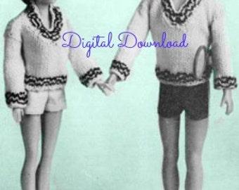 Barbie and Ken Sweater Knit Pattern, Tennis Sweaters, Ebook Bundle Booklet Leaflet, Vintage 1963, PDF Instant, Digital Download