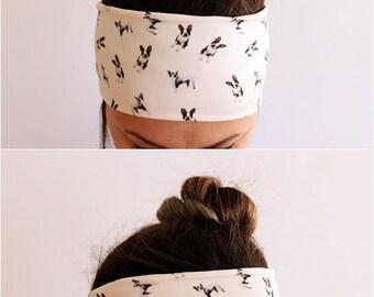 Yoga Headband - Fitness Headband - Workout Headband - Running Headband - Boho Headband - Woman Gift For Her - Boston Terrier Headband Y1