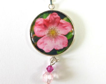 Pink Rose Necklace, Flower Pendant, Silver Round Pendant, Handmade Original Photo Jewelry, Unique Jewelry, Gift For Her, Rose Jewellery