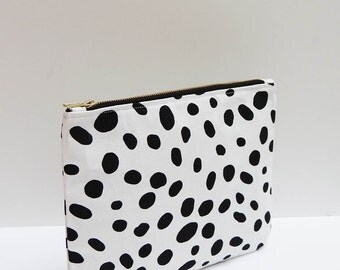 Clutch Purse in Dalmatian Print, Tablet or iPad Case, Black & White Dalmatian Purse, Holiday Gifts For Her, Large Pouch Bag, Accessories Bag