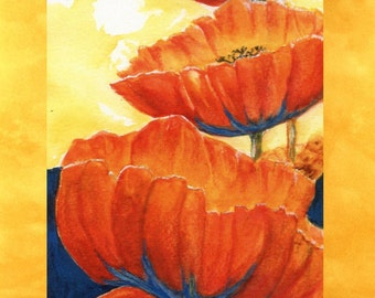 Six Blank Note Cards Glowing Red Poppies
