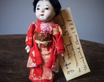 Antique Ichimatsu Gofun Ningyo Kawaii Doll Japanese Doll Kimono Hair Ceramic Glass Eyes Vintage Collectible Handmade Hand Painted Asian Doll