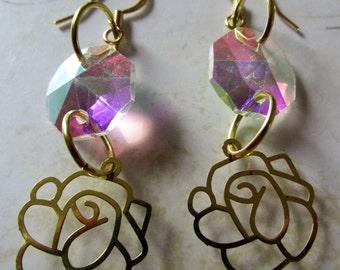 Transparent Bead Flower Earrings