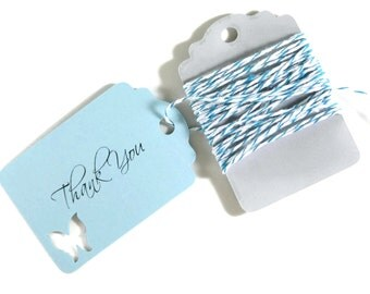 Light Blue Butterfly Tags Set of 20 - Blue Wedding Favor Tags - Butterfly Party Tags - Bridal Shower - Baby Blue Shower - Thank You Tags