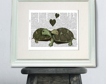Turtle Print - Turtle Green Heart - Turtle wall art Nursery Print modern Nursery Art for Kids Room Décor funny romantic gift idea turtle art