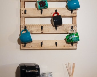 Coffee and Tea Pallet Mug Rack - Small