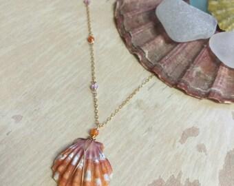 Sunrise Shell Necklace, Hawaii Sunrise Necklace, Hawaii Shell Necklace, Shell Necklace, Gemstone Necklace