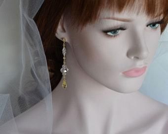 Earrings -14k Gold Filled Swarovski Crystal Drop Earrings
