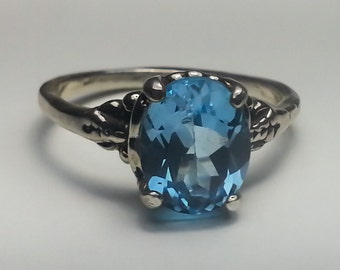 Natural Blue Topaz 2.45 ct Sterling Silver Ring