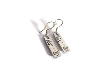 Hand Stamped - Spider and Web - Sterling Silver French Hook - Halloween - Earrings