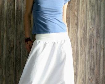 White linen pants for women, linen harem pants, yoga pants, white pants, drop crotch pants, yoga clothing, yoga wear, linen genie pants