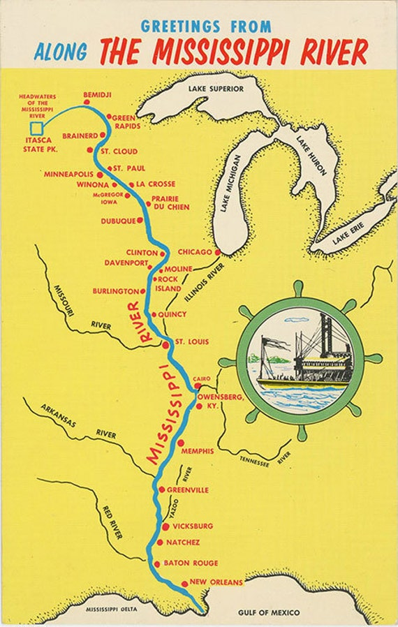 Mississippi River From Bemidji To New Orleans State Map