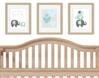Elephants nursery art prints - elephants nursery decor - boys nursery decor - nursery quote art - nursery wall art - you are my sunshine
